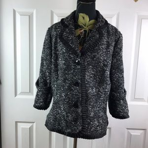 Carole Little blazer Sz L tweed 3/4 black